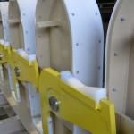 Polyethyleen bekleding bij opslagframe walsrollen